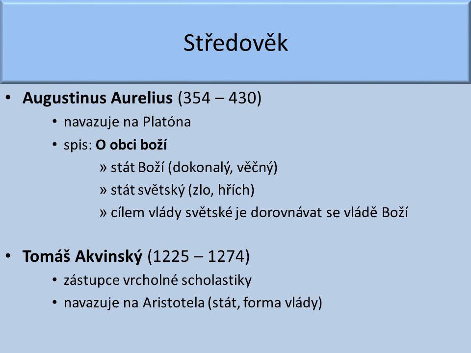 Středověk Augustinus Aurelius (354 – 430) Tomáš Akvinský (1225 – 1274)