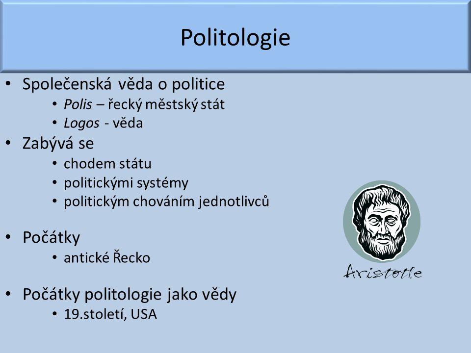 Politologie Společenská věda o politice Zabývá se Počátky