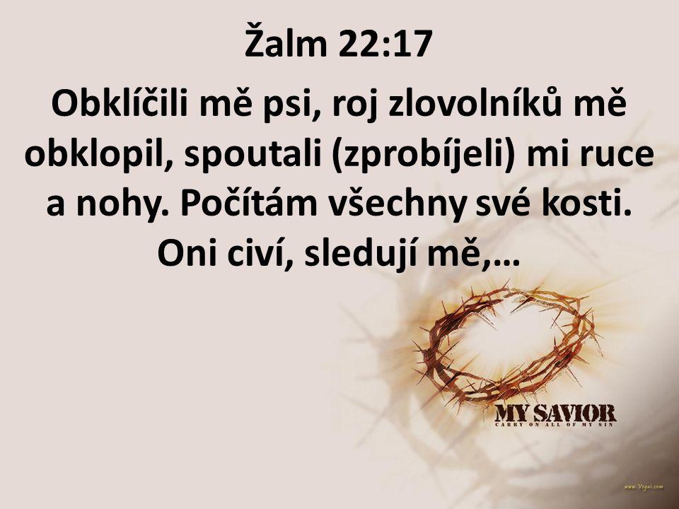 Žalm 22:17 Obklíčili mě psi, roj zlovolníků mě obklopil, spoutali (zprobíjeli) mi ruce a nohy. Počítám všechny své kosti.