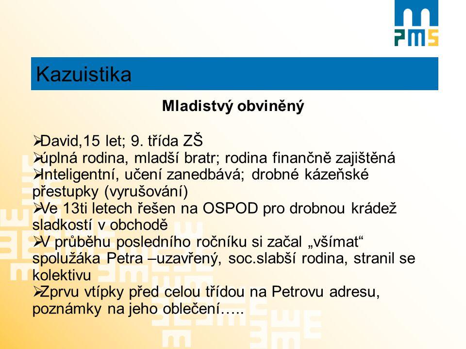 Kazuistika Mladistvý obviněný David,15 let; 9. třída ZŠ