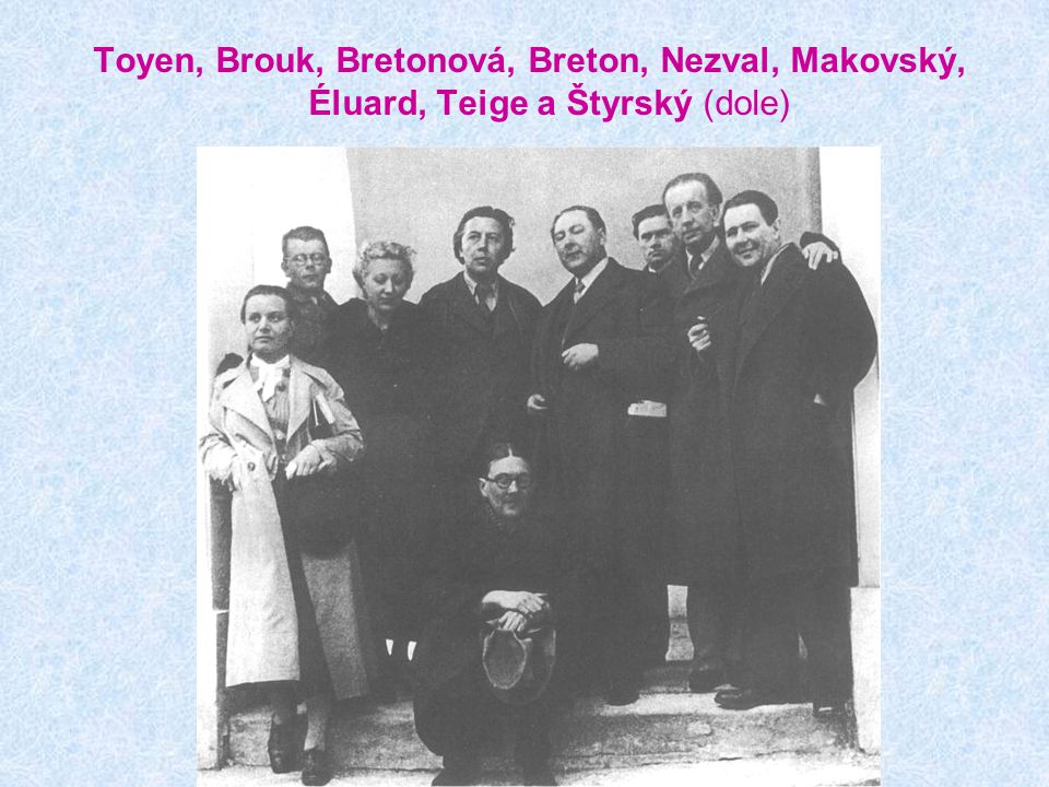Toyen, Brouk, Bretonová, Breton, Nezval, Makovský, Éluard, Teige a Štyrský (dole)