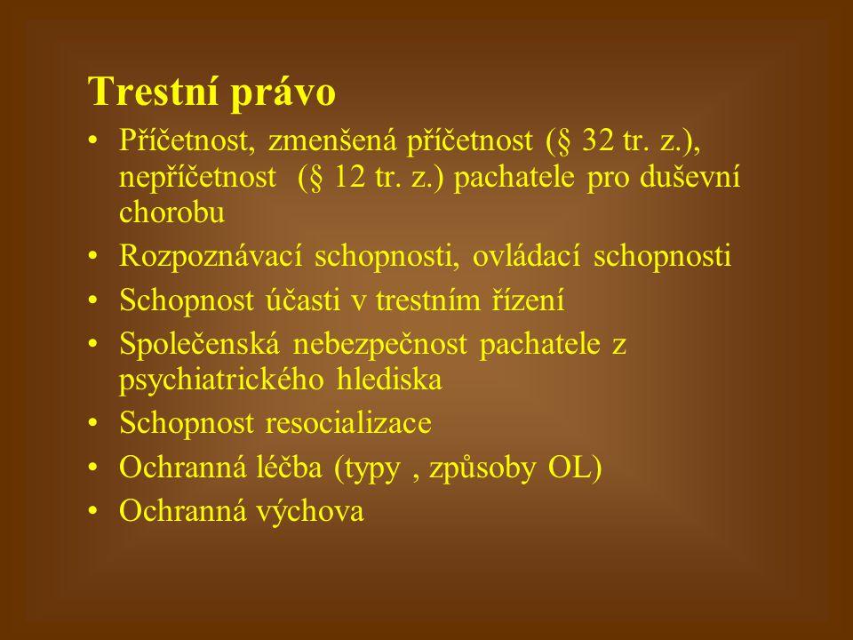 Trestní právo Příčetnost, zmenšená příčetnost (§ 32 tr. z.), nepříčetnost (§ 12 tr. z.) pachatele pro duševní chorobu.