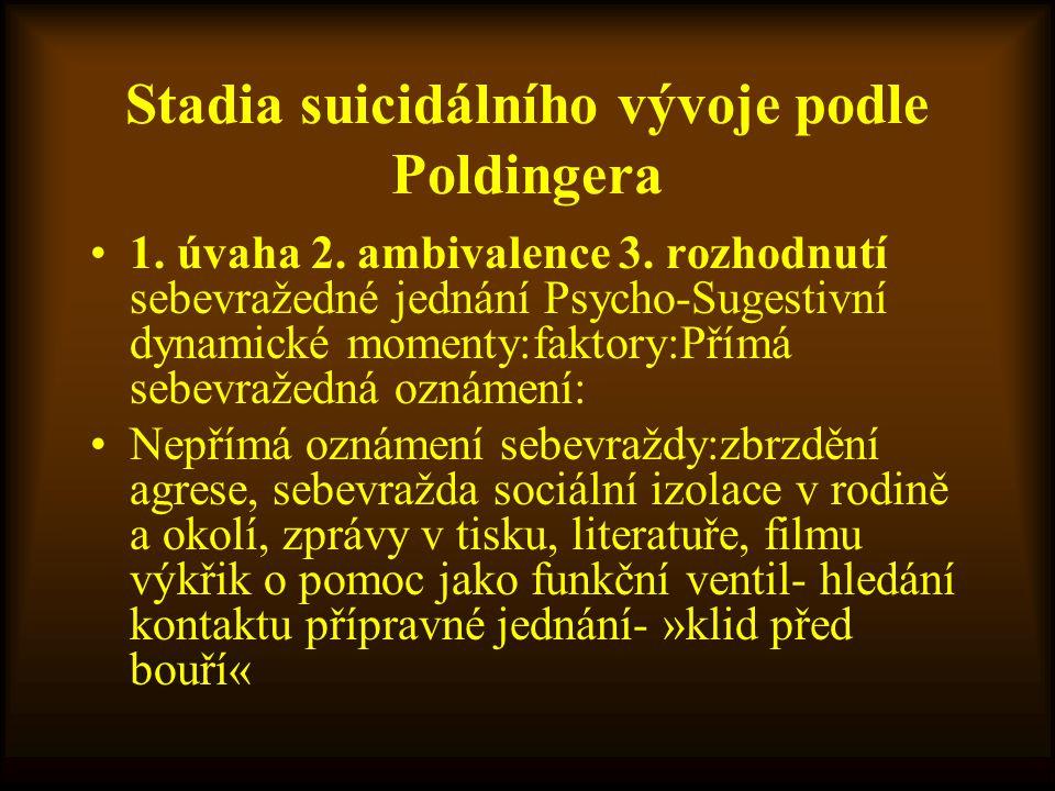 Stadia suicidálního vývoje podle Poldingera