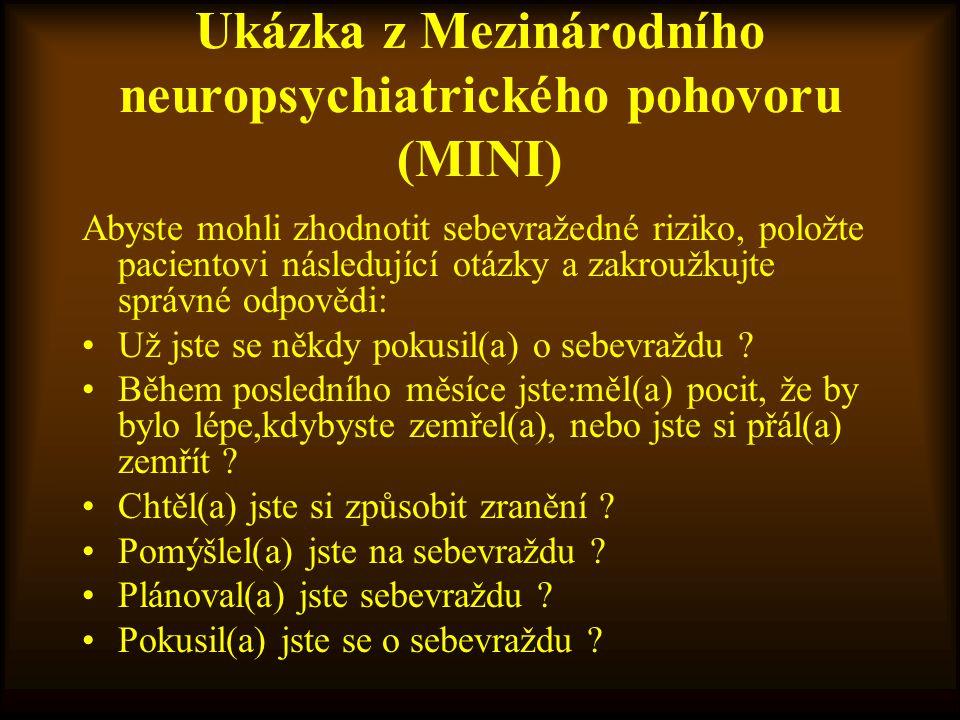 Ukázka z Mezinárodního neuropsychiatrického pohovoru (MINI)