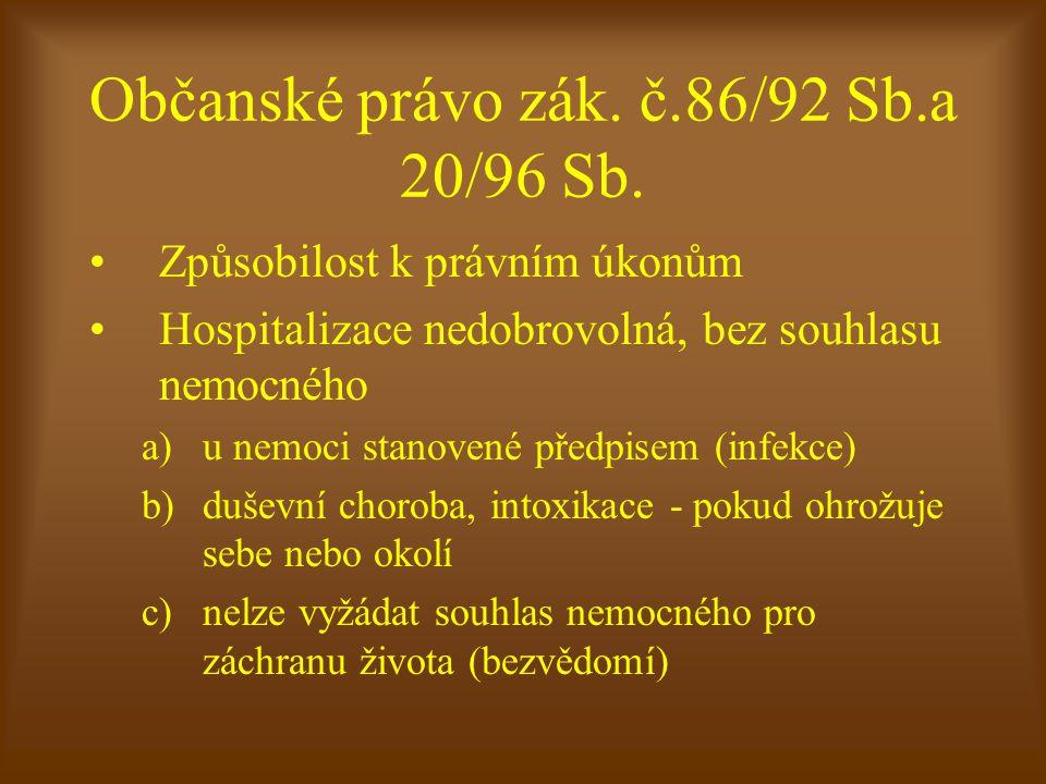 Občanské právo zák. č.86/92 Sb.a 20/96 Sb.
