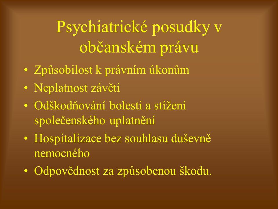 Psychiatrické posudky v občanském právu