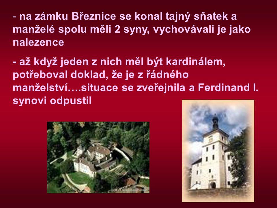 na zámku Březnice se konal tajný sňatek a manželé spolu měli 2 syny, vychovávali je jako nalezence
