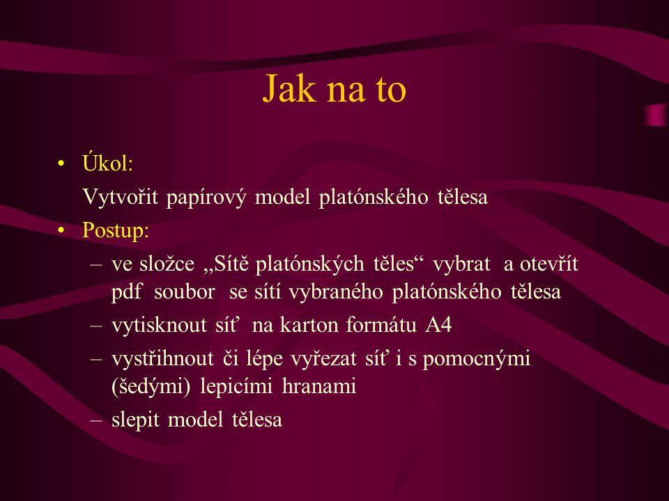 Jak na to Úkol: Vytvořit papírový model platónského tělesa Postup: