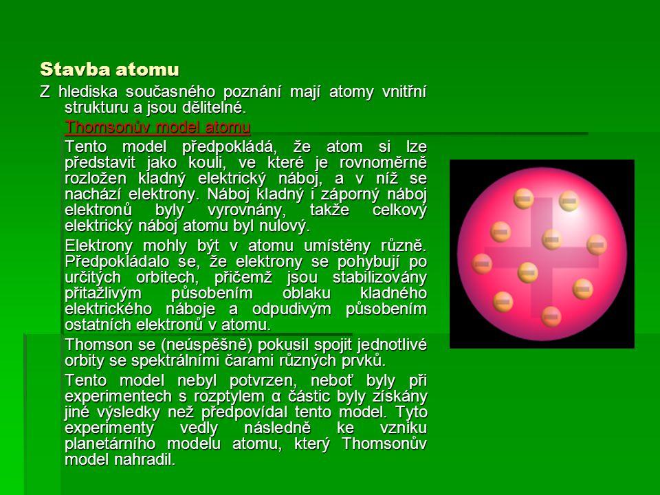 Stavba atomu Z hlediska současného poznání mají atomy vnitřní strukturu a jsou dělitelné. Thomsonův model atomu.