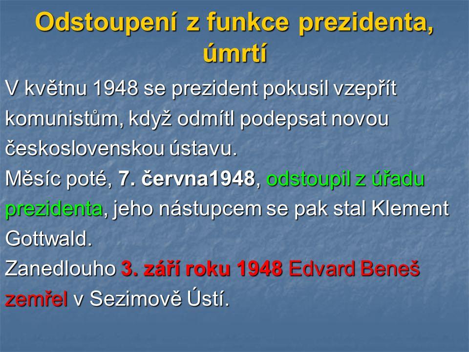 Odstoupení z funkce prezidenta, úmrtí