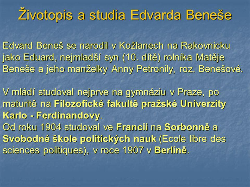 Životopis a studia Edvarda Beneše