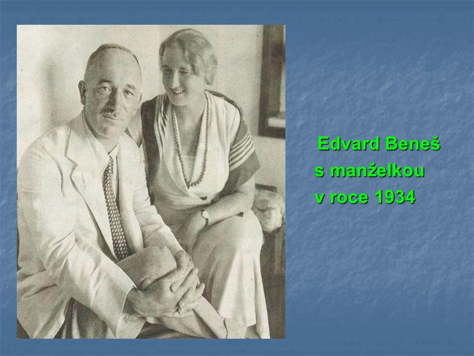 Edvard Beneš s manželkou v roce 1934