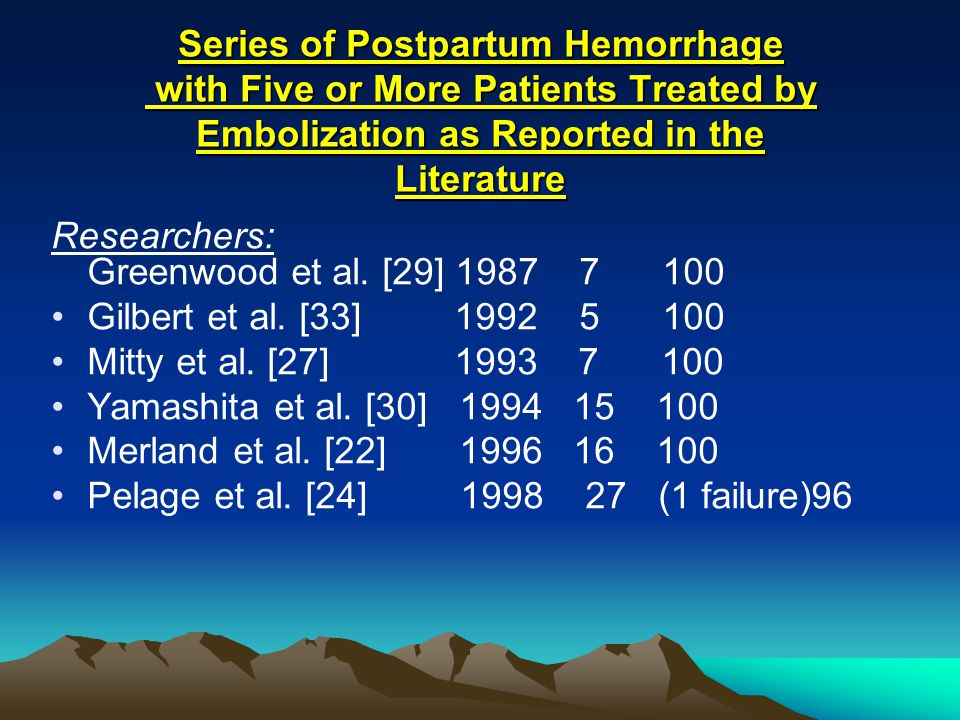 Series of Postpartum Hemorrhage with Five or More Patients Treated by Embolization as Reported in the Literature
