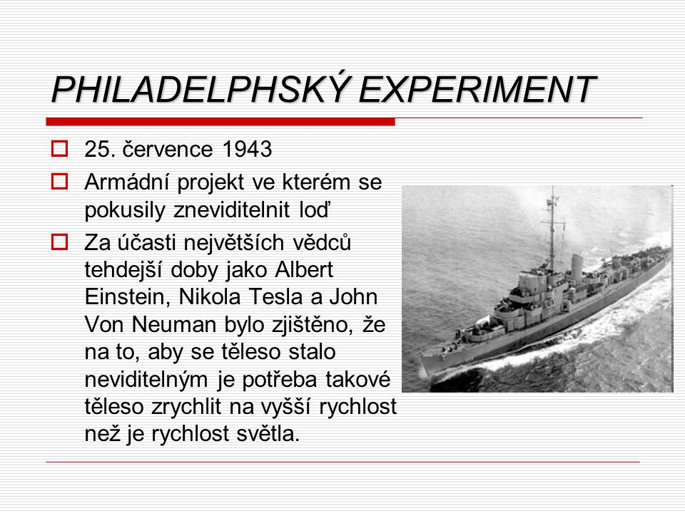 PHILADELPHSKÝ EXPERIMENT