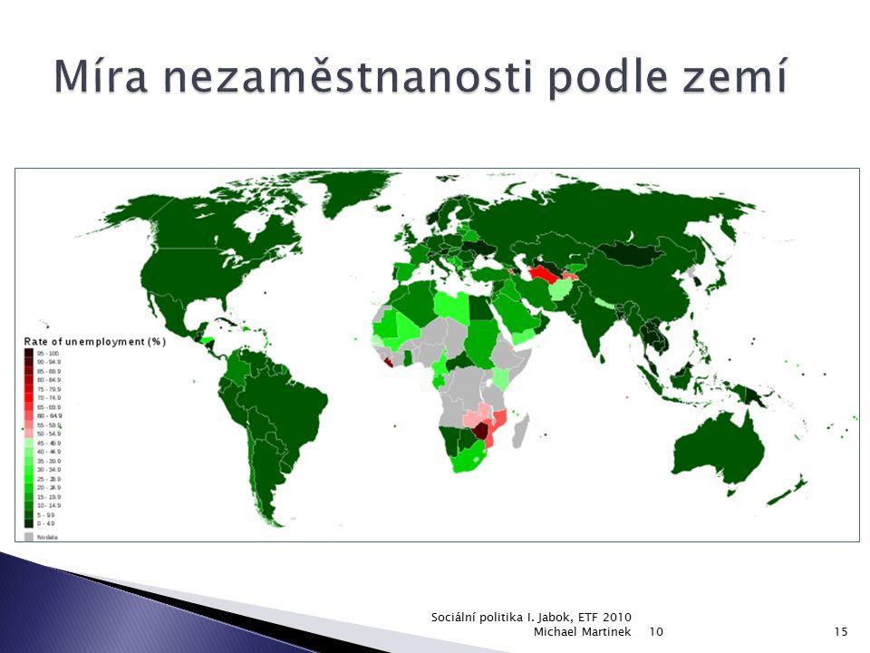 Míra nezaměstnanosti podle zemí