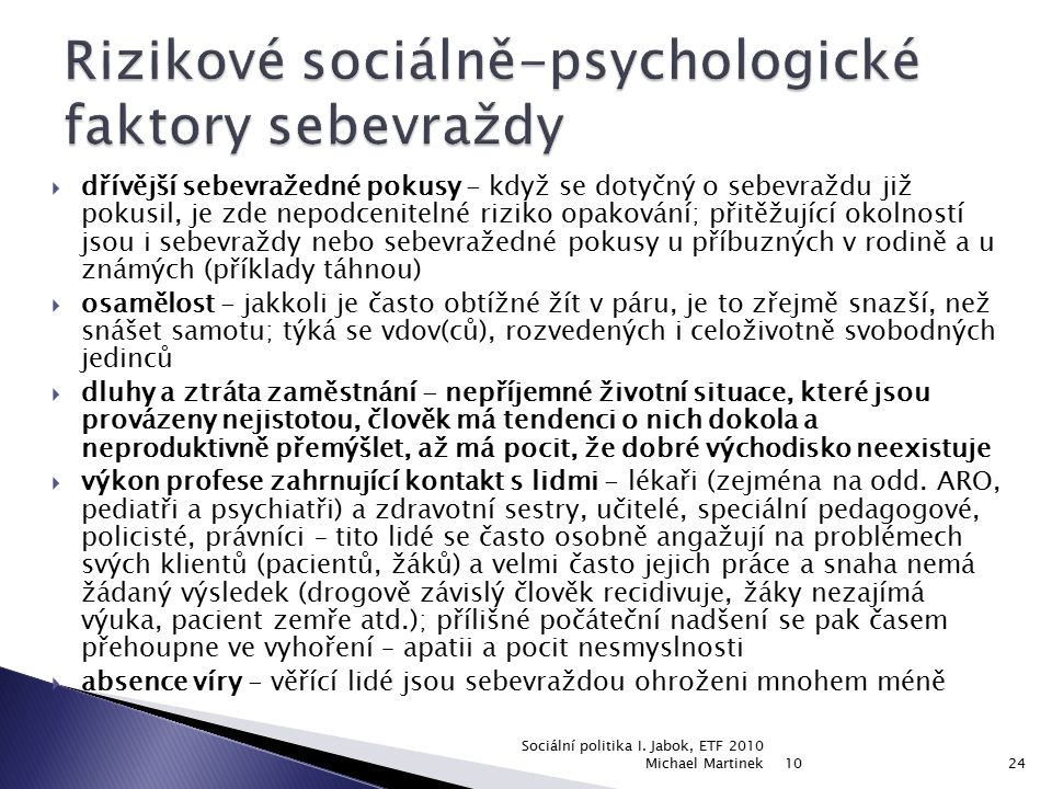 Rizikové sociálně-psychologické faktory sebevraždy