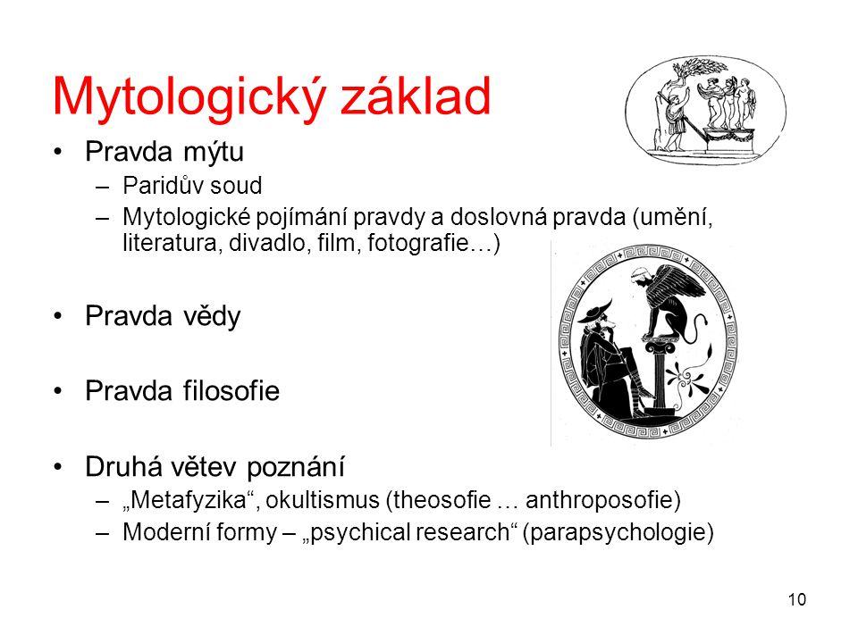 Mytologický základ Pravda mýtu Pravda vědy Pravda filosofie