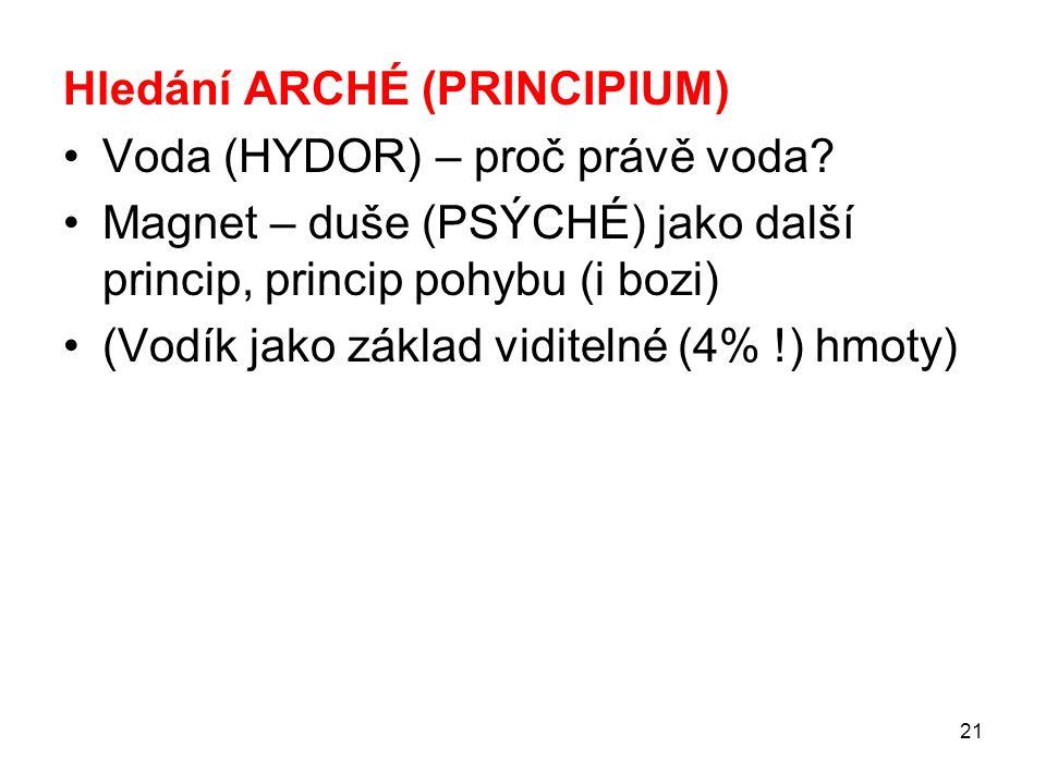 Hledání ARCHÉ (PRINCIPIUM)