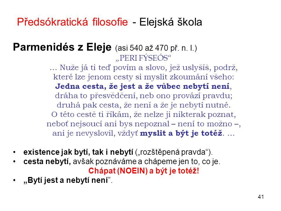Předsókratická filosofie - Elejská škola