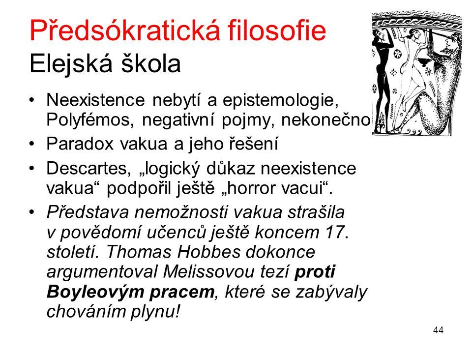 Předsókratická filosofie Elejská škola