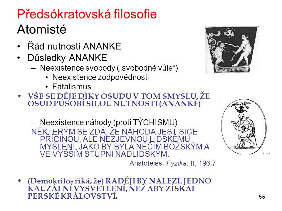 Předsókratovská filosofie Atomisté