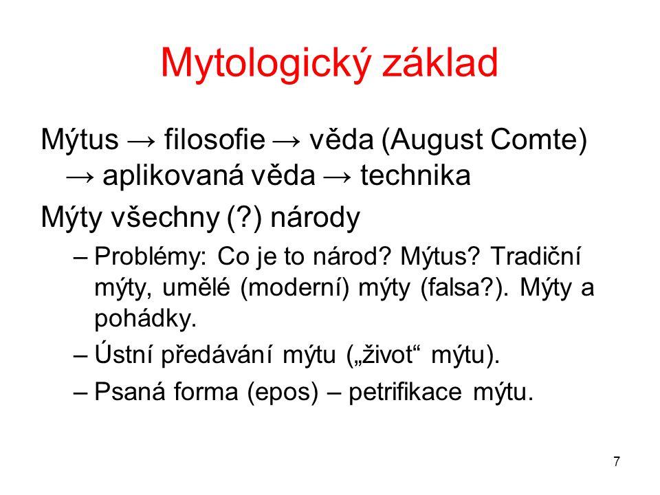 Mytologický základ Mýtus → filosofie → věda (August Comte) → aplikovaná věda → technika. Mýty všechny ( ) národy.