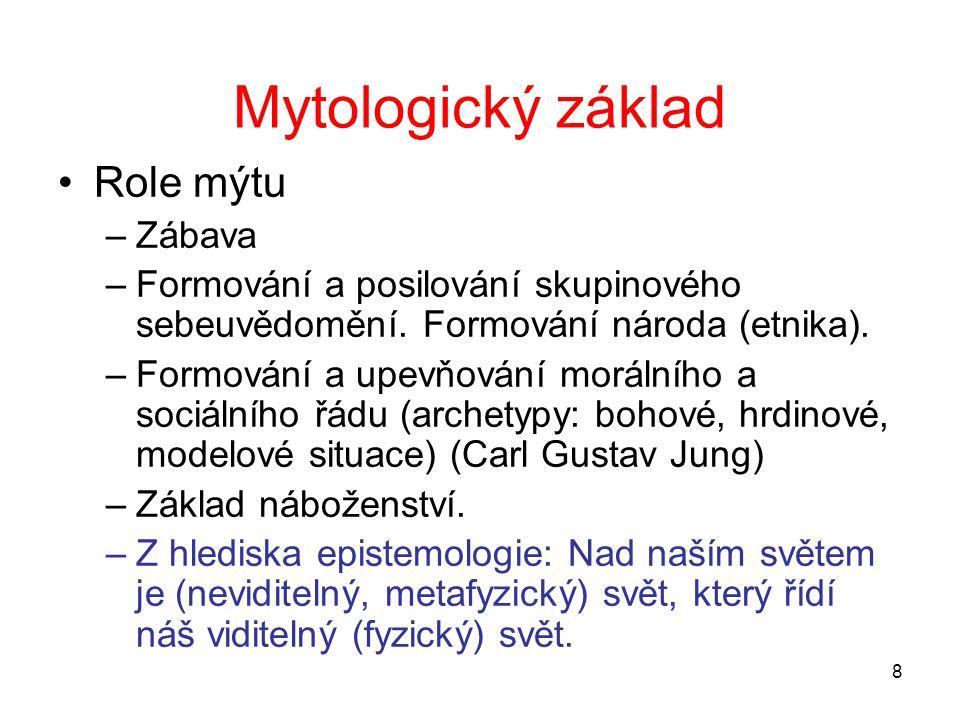 Mytologický základ Role mýtu Zábava
