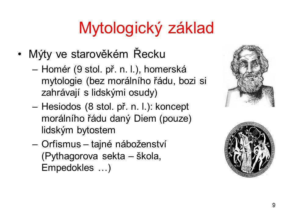 Mytologický základ Mýty ve starověkém Řecku