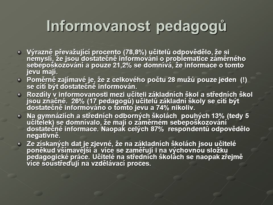 Informovanost pedagogů