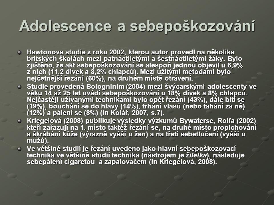 Adolescence a sebepoškozování