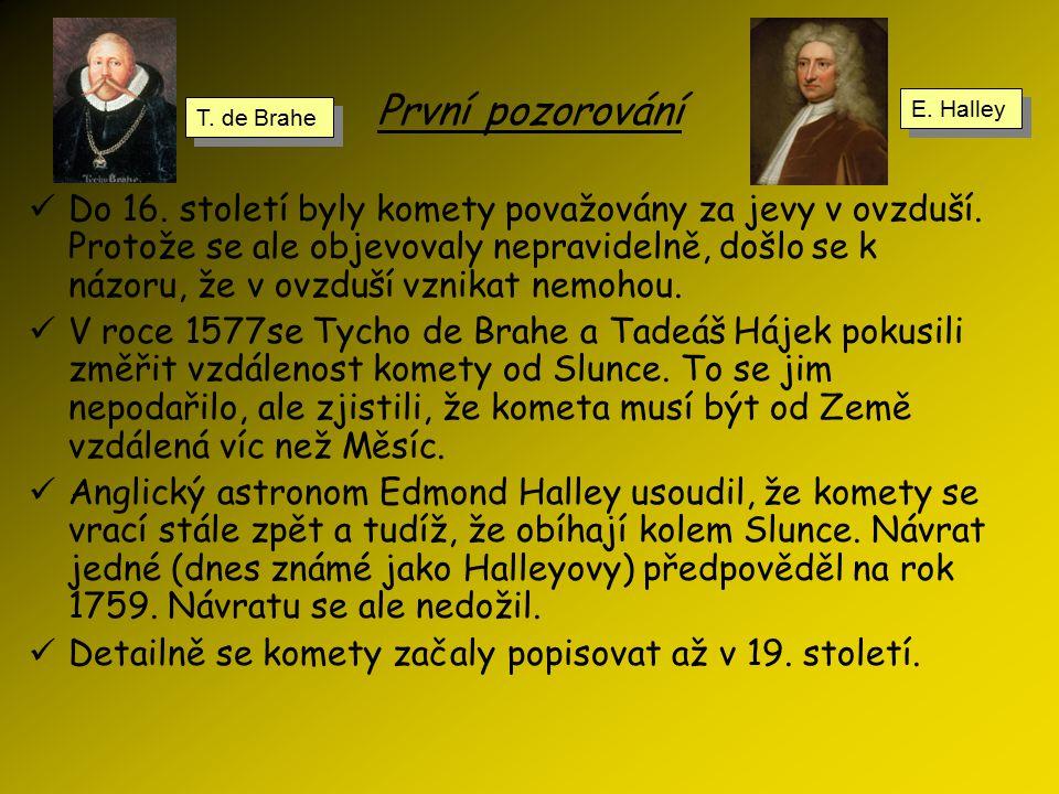 První pozorování E. Halley. T. de Brahe.