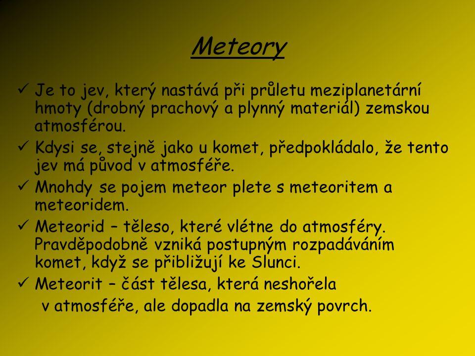 Meteory Je to jev, který nastává při průletu meziplanetární hmoty (drobný prachový a plynný materiál) zemskou atmosférou.