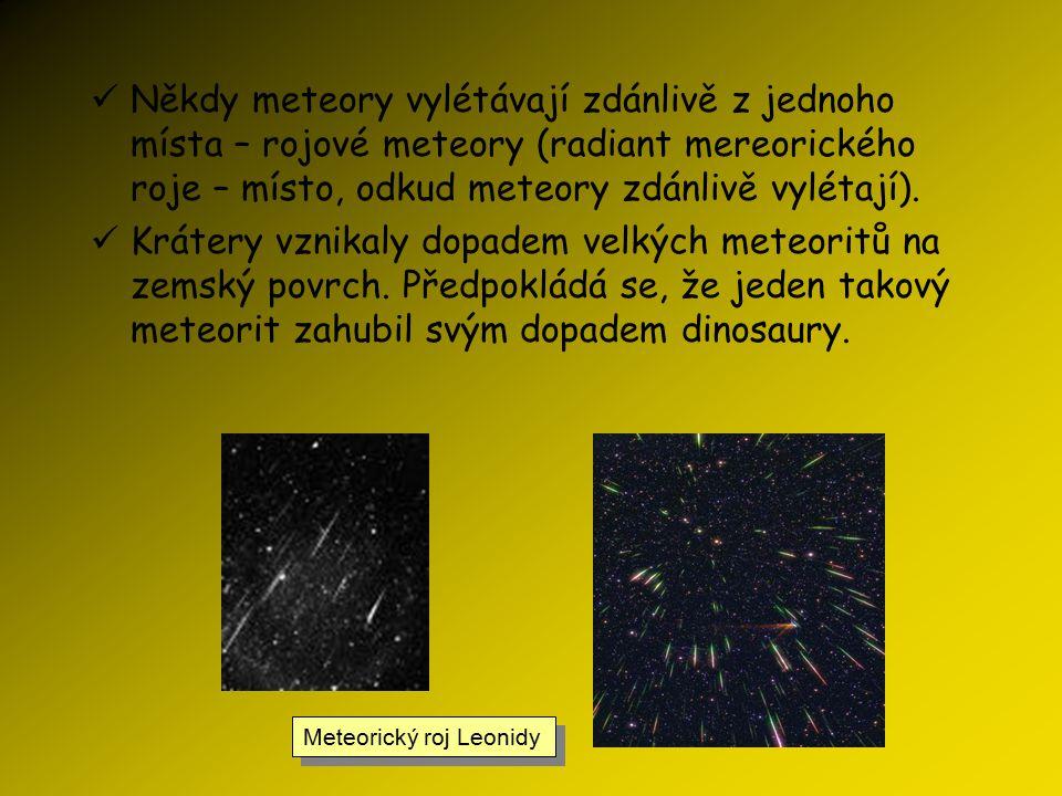 Někdy meteory vylétávají zdánlivě z jednoho místa – rojové meteory (radiant mereorického roje – místo, odkud meteory zdánlivě vylétají).