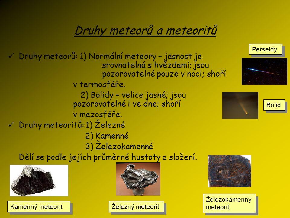 Druhy meteorů a meteoritů