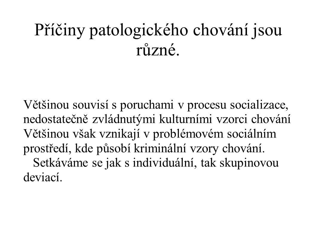 Příčiny patologického chování jsou různé.