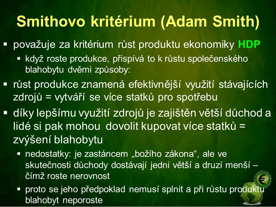 Smithovo kritérium (Adam Smith)