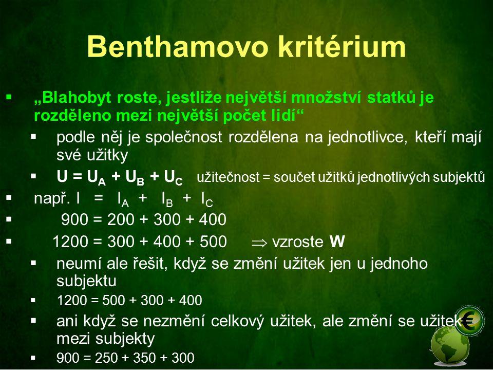 """Benthamovo kritérium """"Blahobyt roste, jestliže největší množství statků je rozděleno mezi největší počet lidí"""