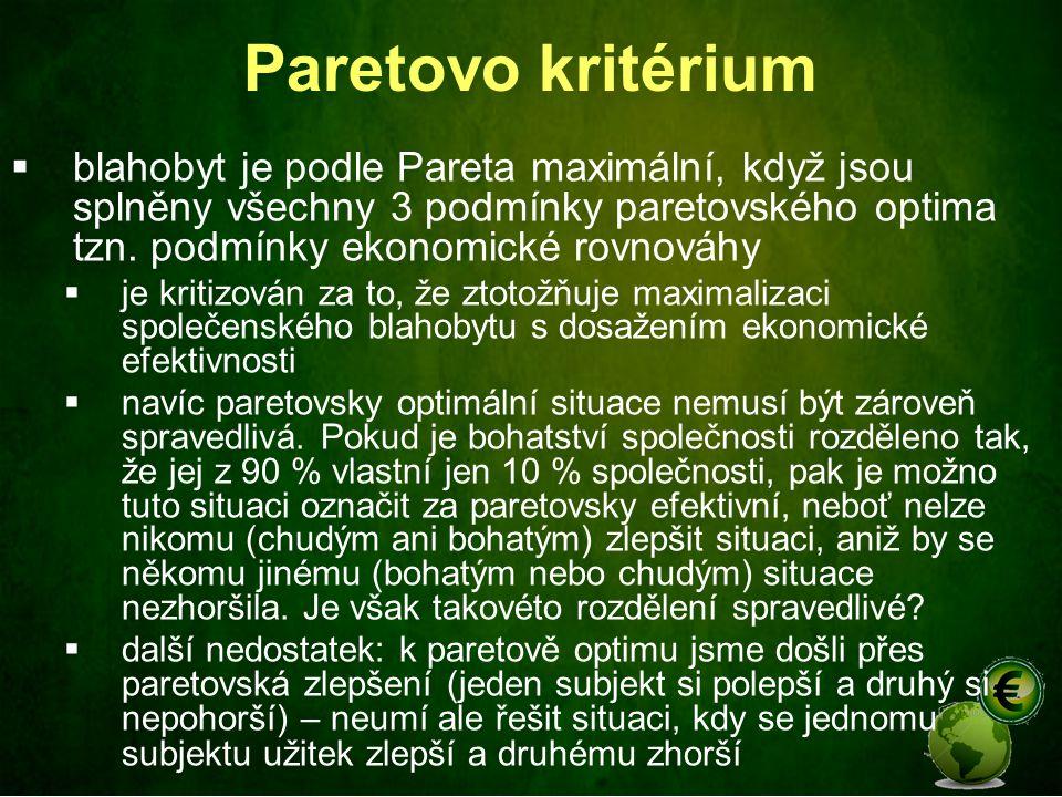 Paretovo kritérium blahobyt je podle Pareta maximální, když jsou splněny všechny 3 podmínky paretovského optima tzn. podmínky ekonomické rovnováhy.