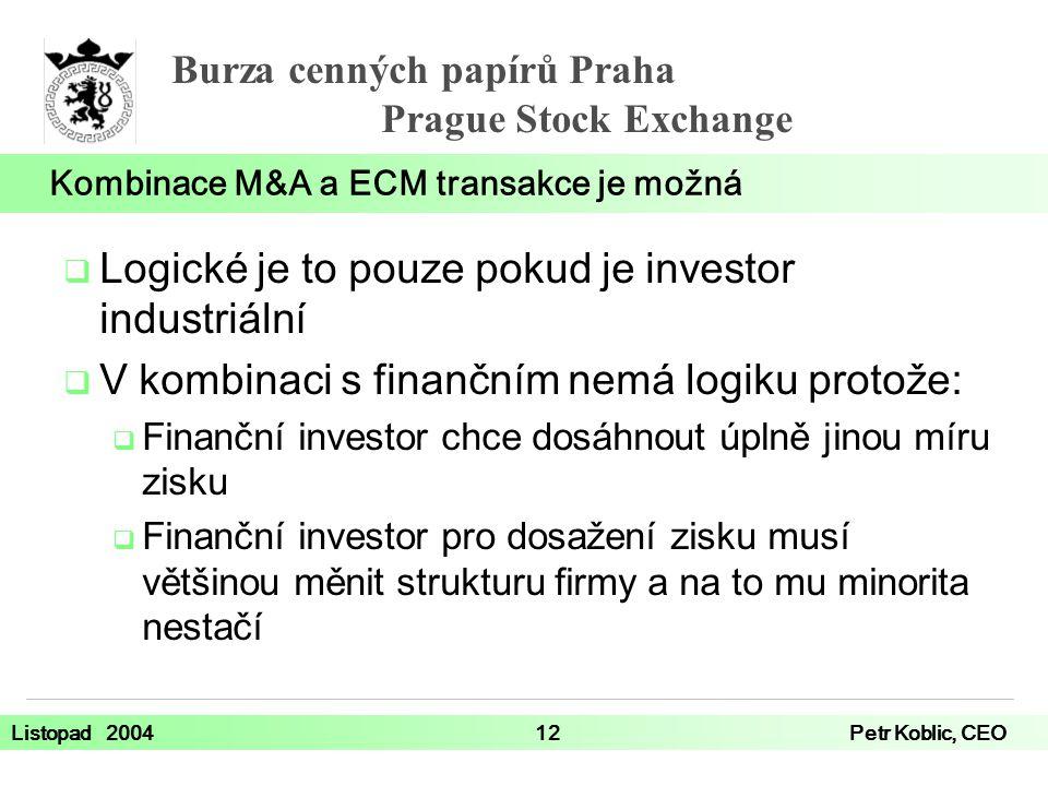 Kombinace M&A a ECM transakce je možná