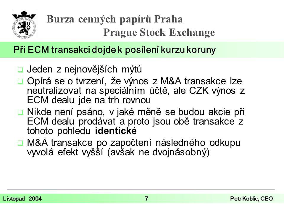 Při ECM transakci dojde k posílení kurzu koruny