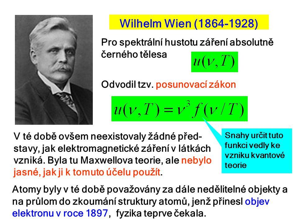 Wilhelm Wien (1864-1928) Pro spektrální hustotu záření absolutně