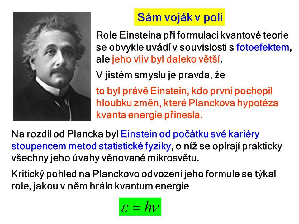 Sám voják v poli Role Einsteina při formulaci kvantové teorie se obvykle uvádí v souvislosti s fotoefektem, ale jeho vliv byl daleko větší.