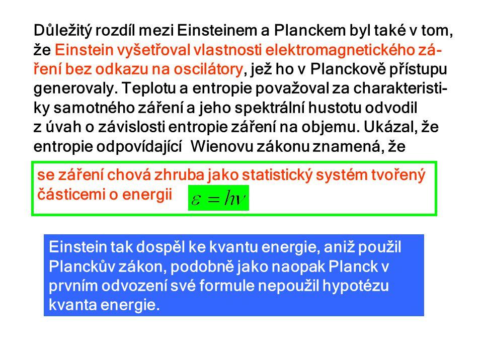 Důležitý rozdíl mezi Einsteinem a Planckem byl také v tom, že Einstein vyšetřoval vlastnosti elektromagnetického zá-ření bez odkazu na oscilátory, jež ho v Planckově přístupu generovaly. Teplotu a entropie považoval za charakteristi-ky samotného záření a jeho spektrální hustotu odvodil z úvah o závislosti entropie záření na objemu. Ukázal, že entropie odpovídající Wienovu zákonu znamená, že