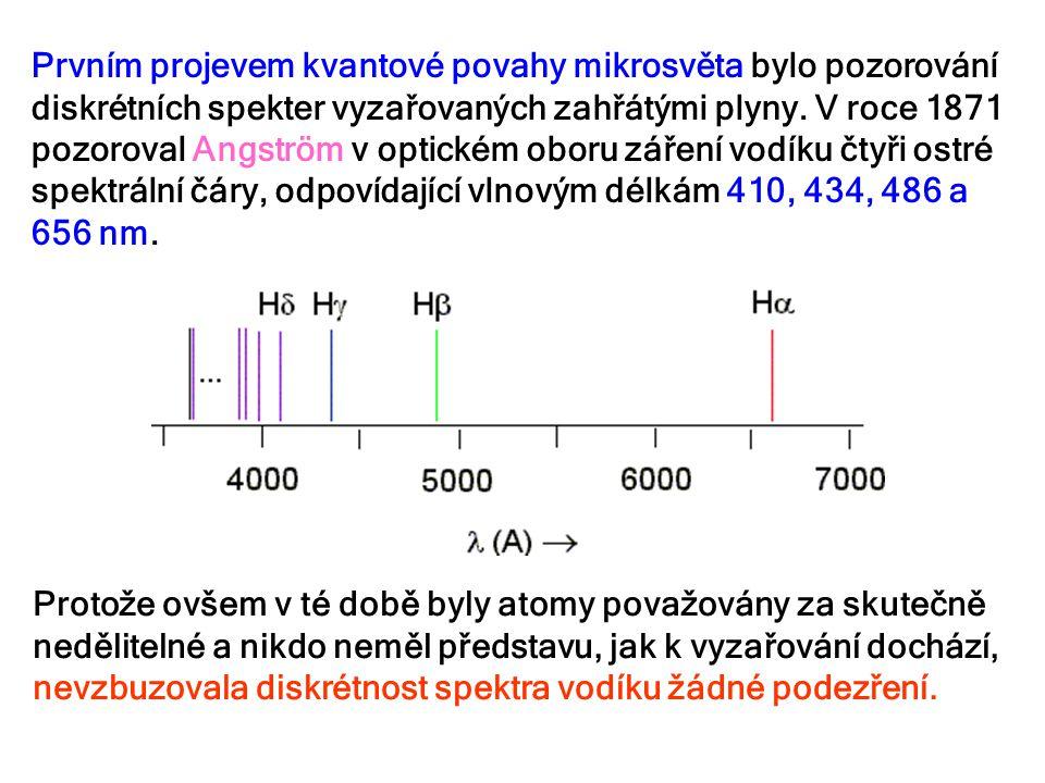 Prvním projevem kvantové povahy mikrosvěta bylo pozorování diskrétních spekter vyzařovaných zahřátými plyny. V roce 1871 pozoroval Angström v optickém oboru záření vodíku čtyři ostré spektrální čáry, odpovídající vlnovým délkám 410, 434, 486 a 656 nm.