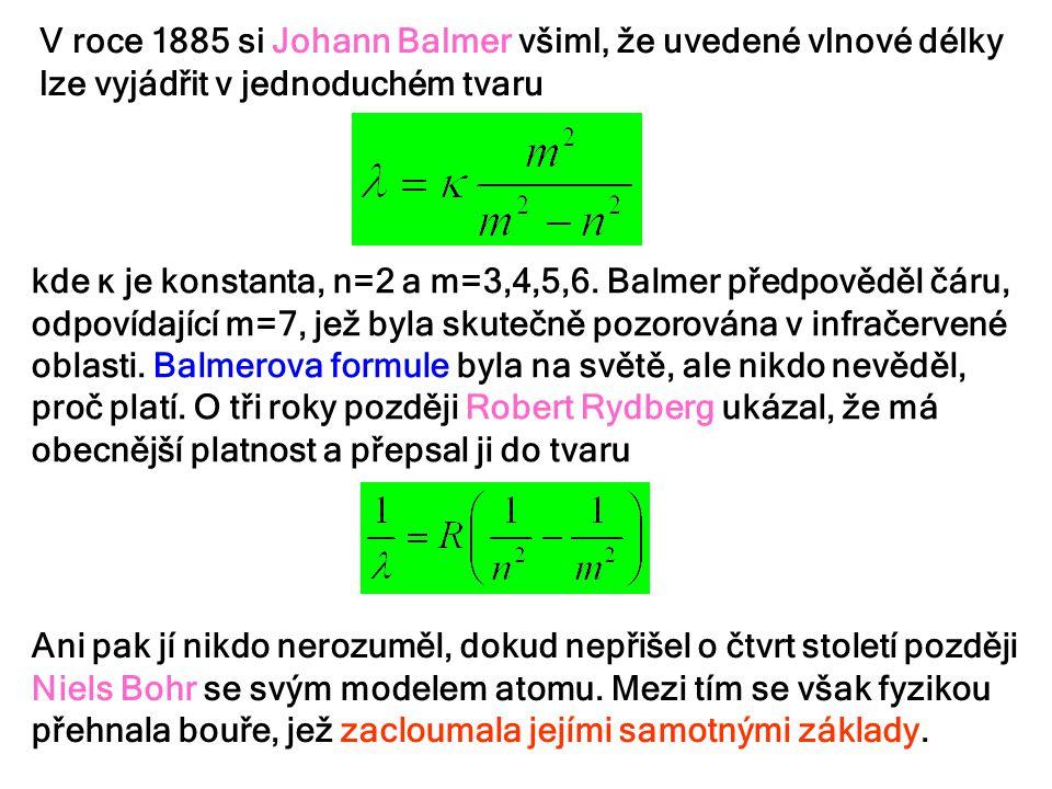 V roce 1885 si Johann Balmer všiml, že uvedené vlnové délky lze vyjádřit v jednoduchém tvaru