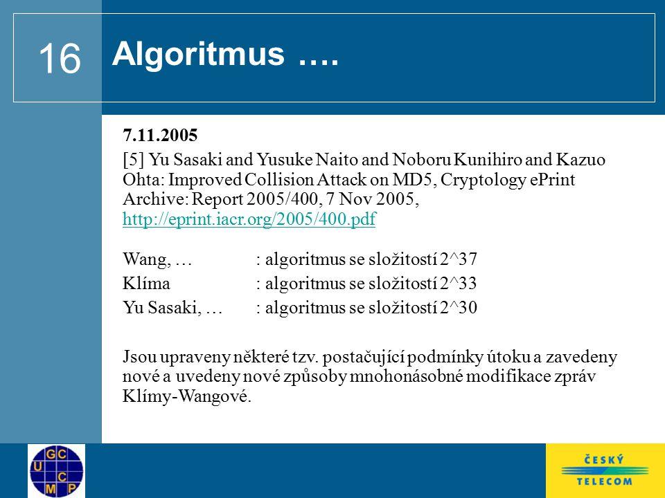 Algoritmus …. 7.11.2005.