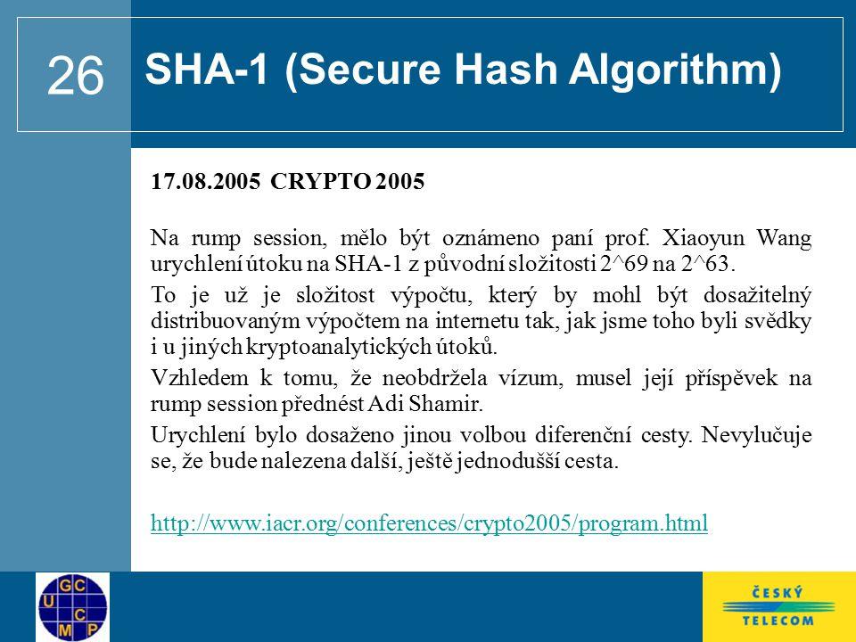 SHA-1 (Secure Hash Algorithm)