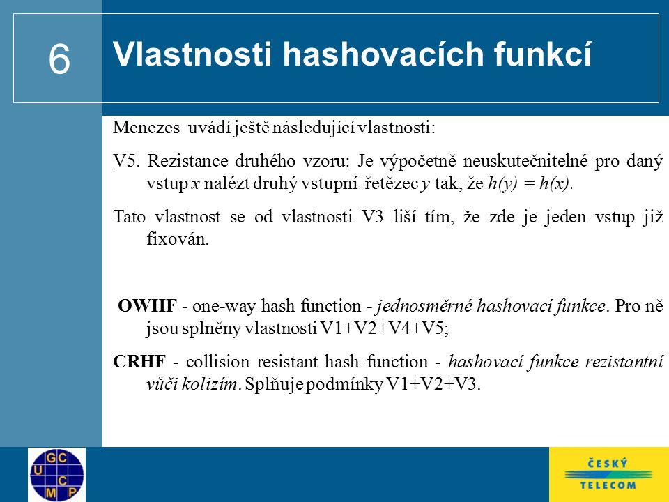 Vlastnosti hashovacích funkcí