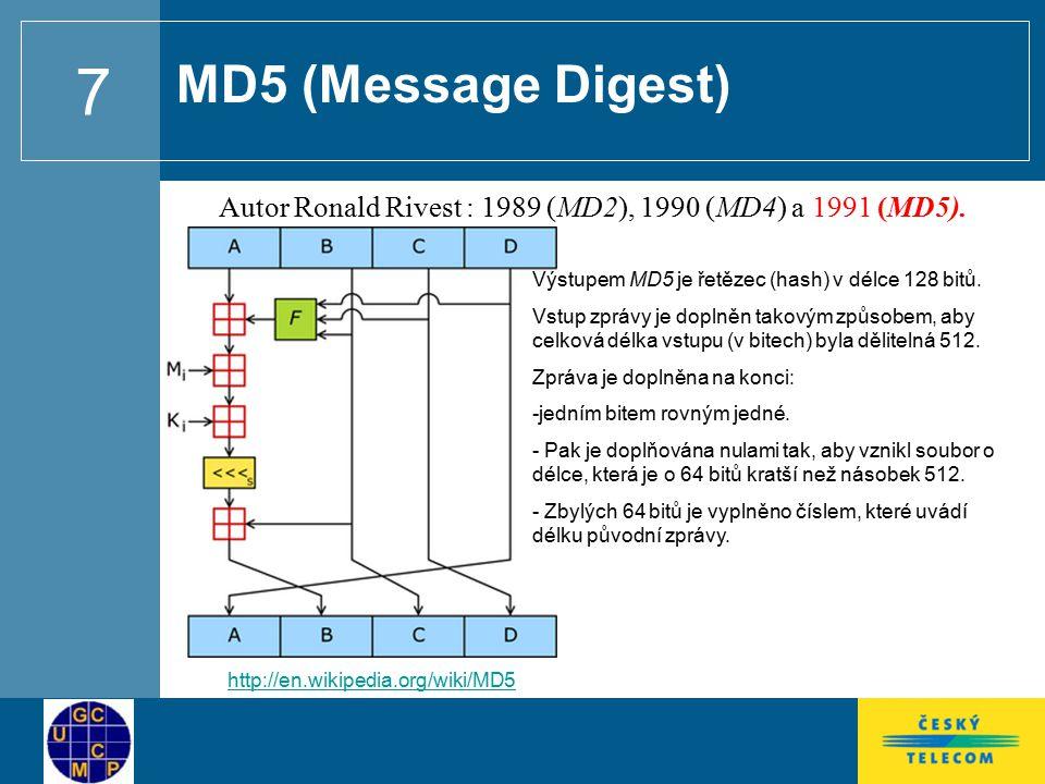 MD5 (Message Digest) Autor Ronald Rivest : 1989 (MD2), 1990 (MD4) a 1991 (MD5). Výstupem MD5 je řetězec (hash) v délce 128 bitů.