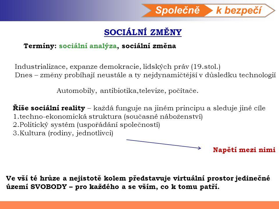 SOCIÁLNÍ ZMĚNY Termíny: sociální analýza, sociální změna